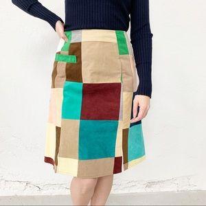 Vintage Multicolor Skirt Skort Suede Patchwork 2